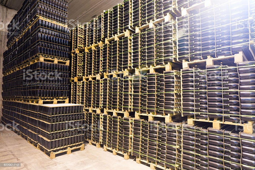 Champagne wine going through secondary fermentation process stock photo