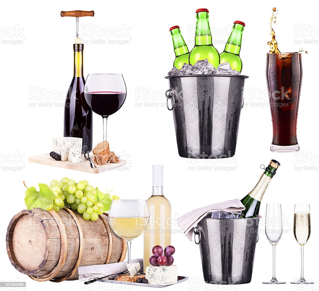 champagne, wine,beer,cola and food royalty-free stock photo