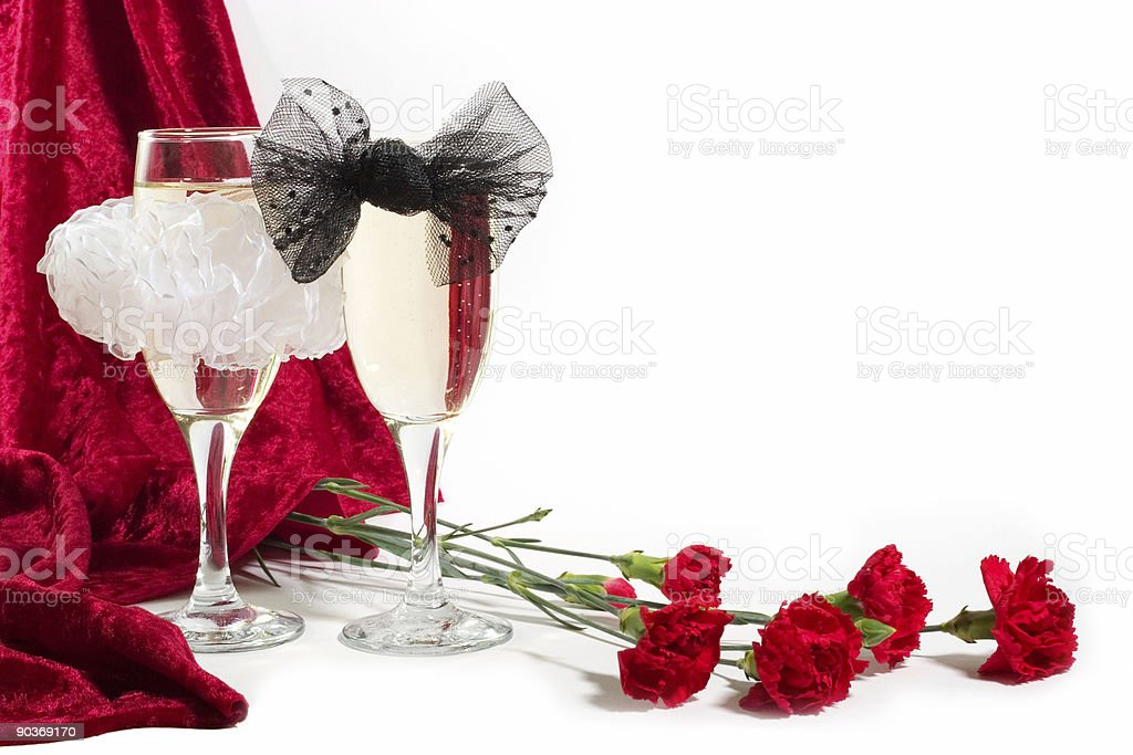 champagne with bow knots royalty-free stock photo
