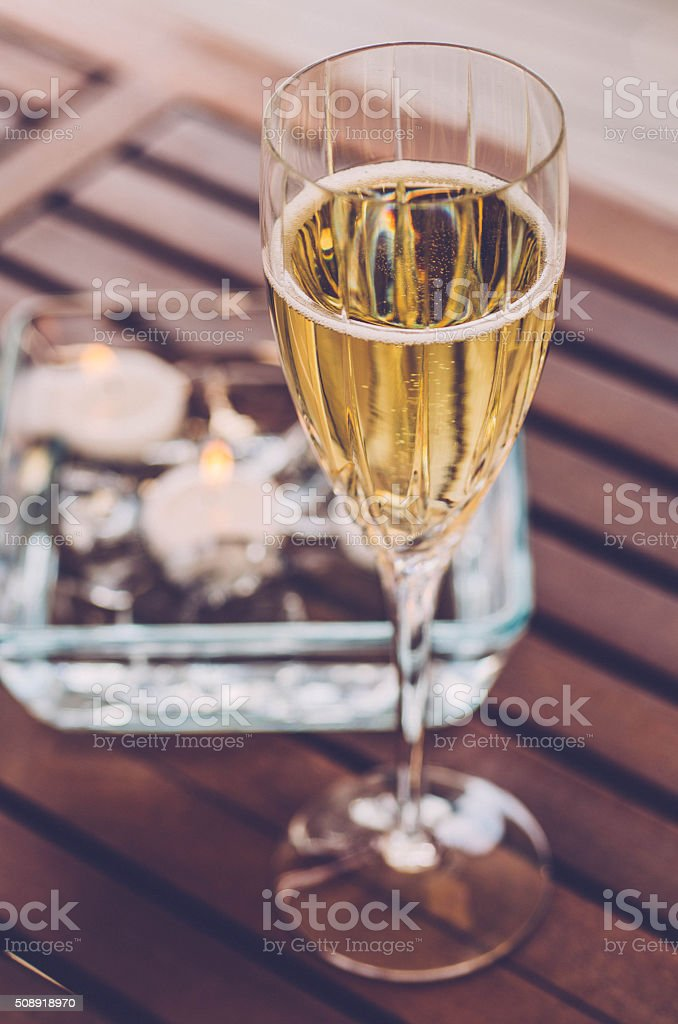Champagne with candles stock photo