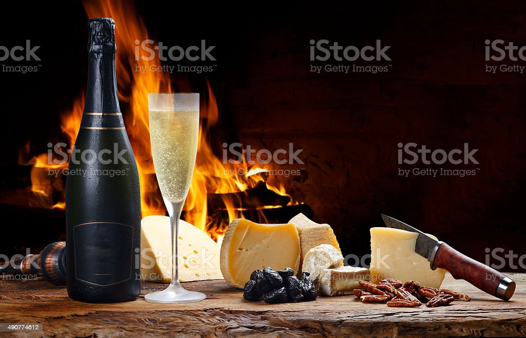champagne with delicious cheeses stock photo