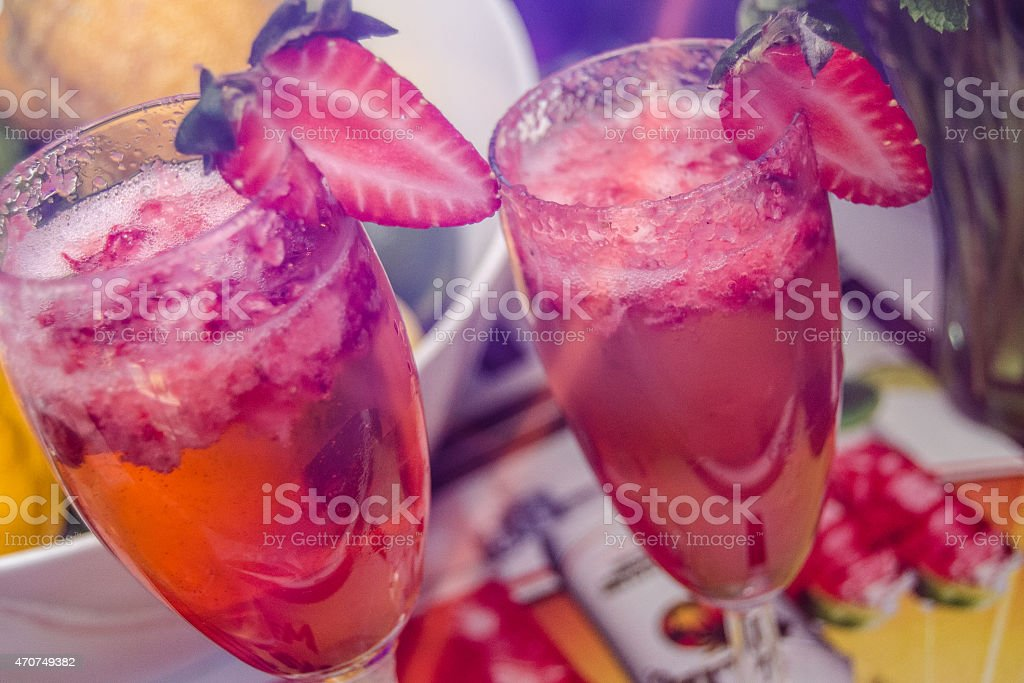 Champagne with strawberries. stock photo