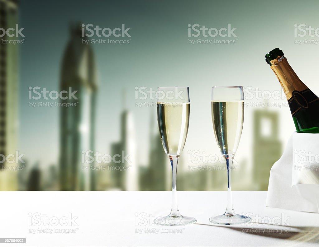 champaign Glasses and  skyscrapers of Dubai, UAE stock photo