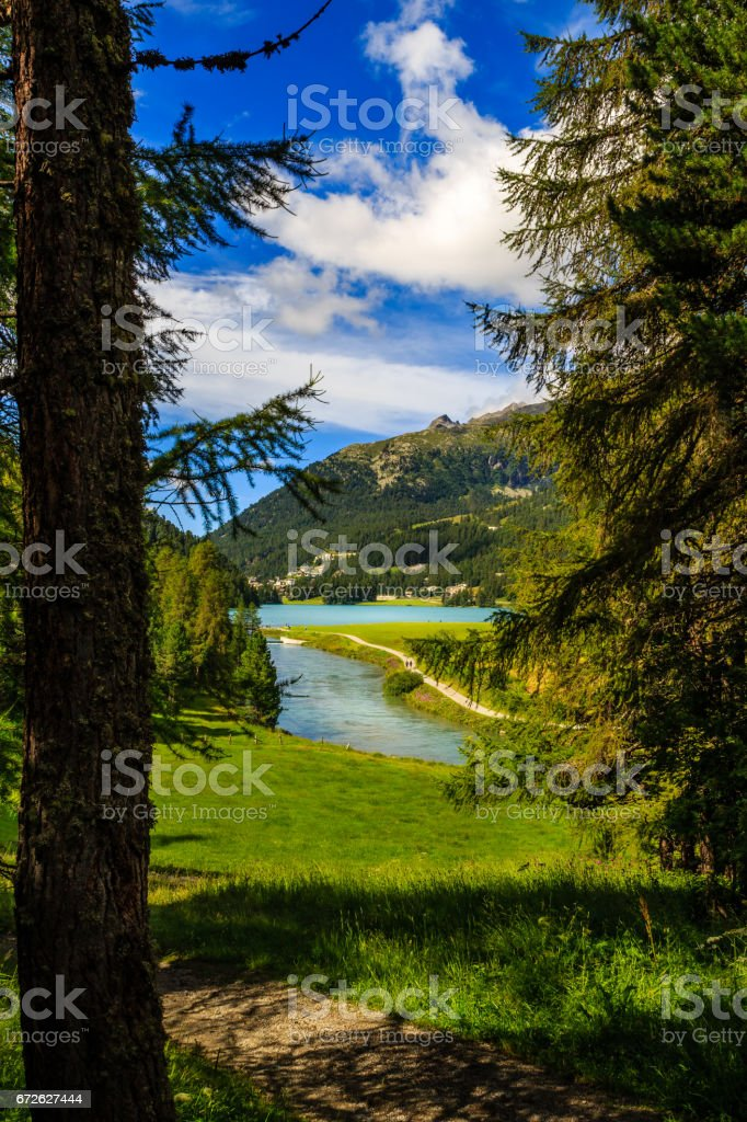 Champferersee and Inn river near St. Moritz, Switzerland stock photo