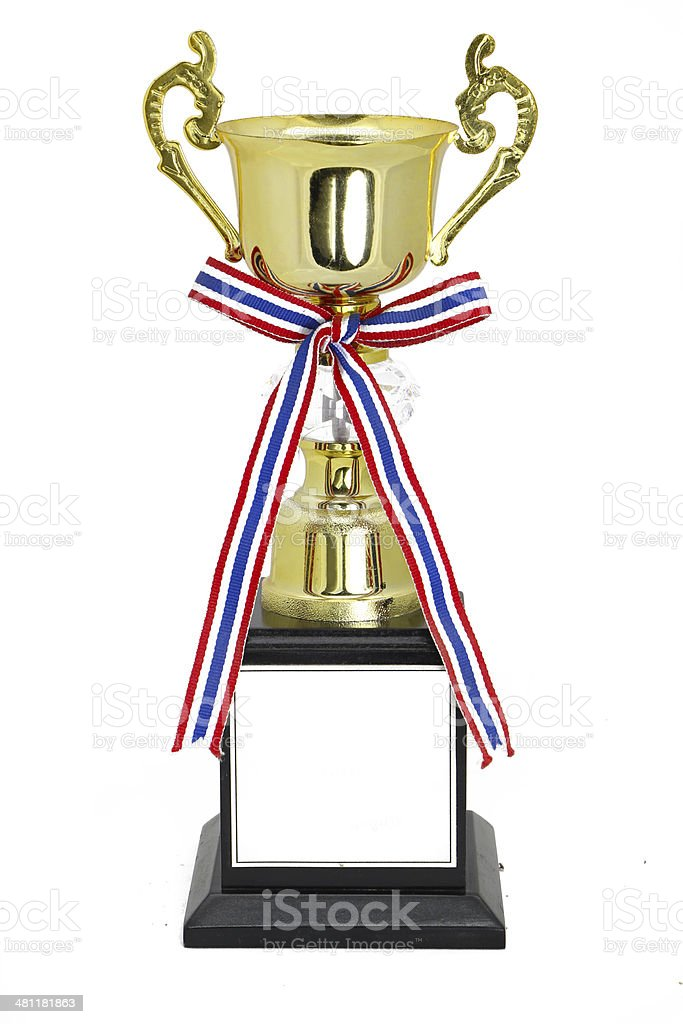 Champion gold trophy isolated on white,With clipping path royalty-free stock photo