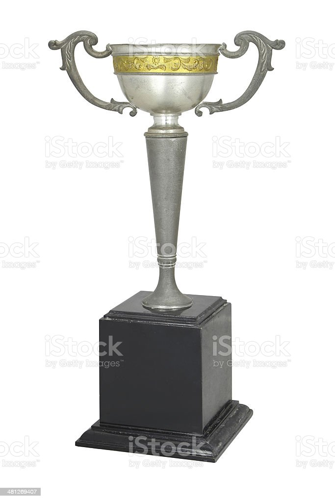 Champion Vintage Silver trophy isolated on white,With clipping path royalty-free stock photo