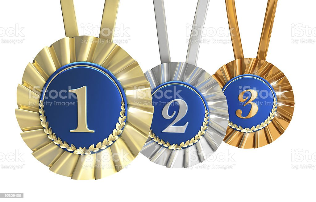 Champions Ribbons with laurels : Gold, Silver and Bronze royalty-free stock photo
