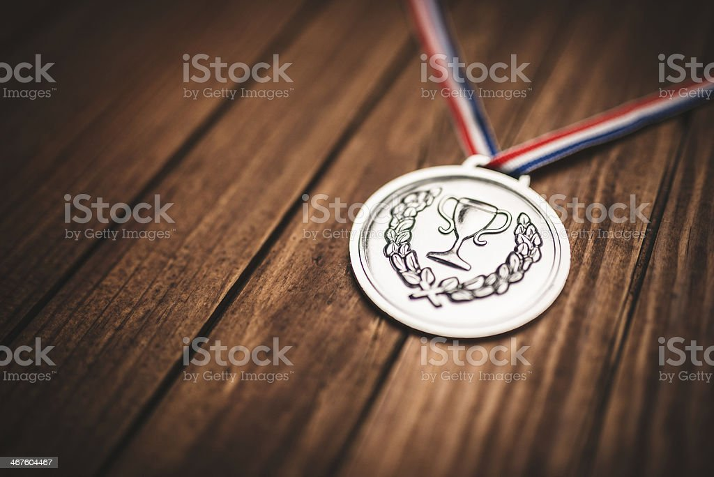 championship medals on plank wood royalty-free stock photo