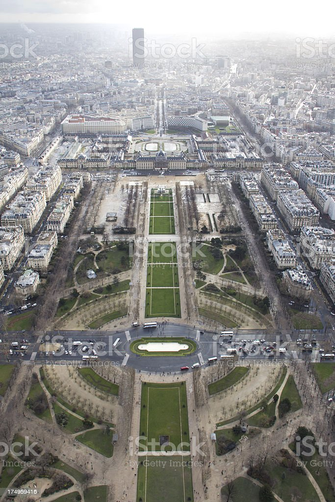 Champs de Mars from Eiffel Tower royalty-free stock photo