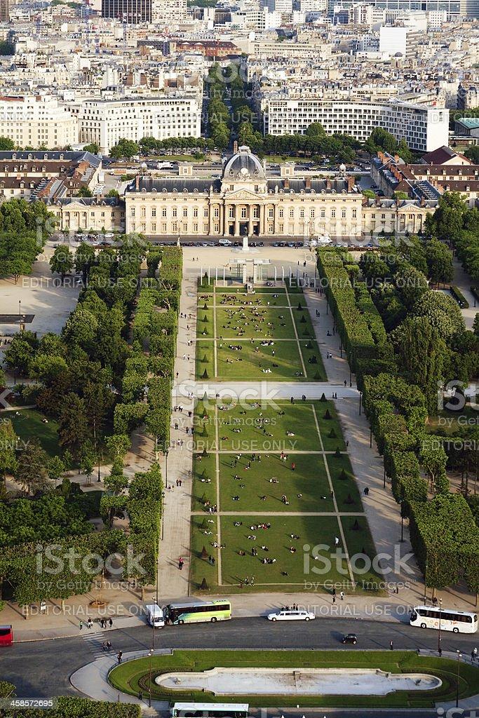 Parc du Champs de Mars from Eiffel Tower stock photo