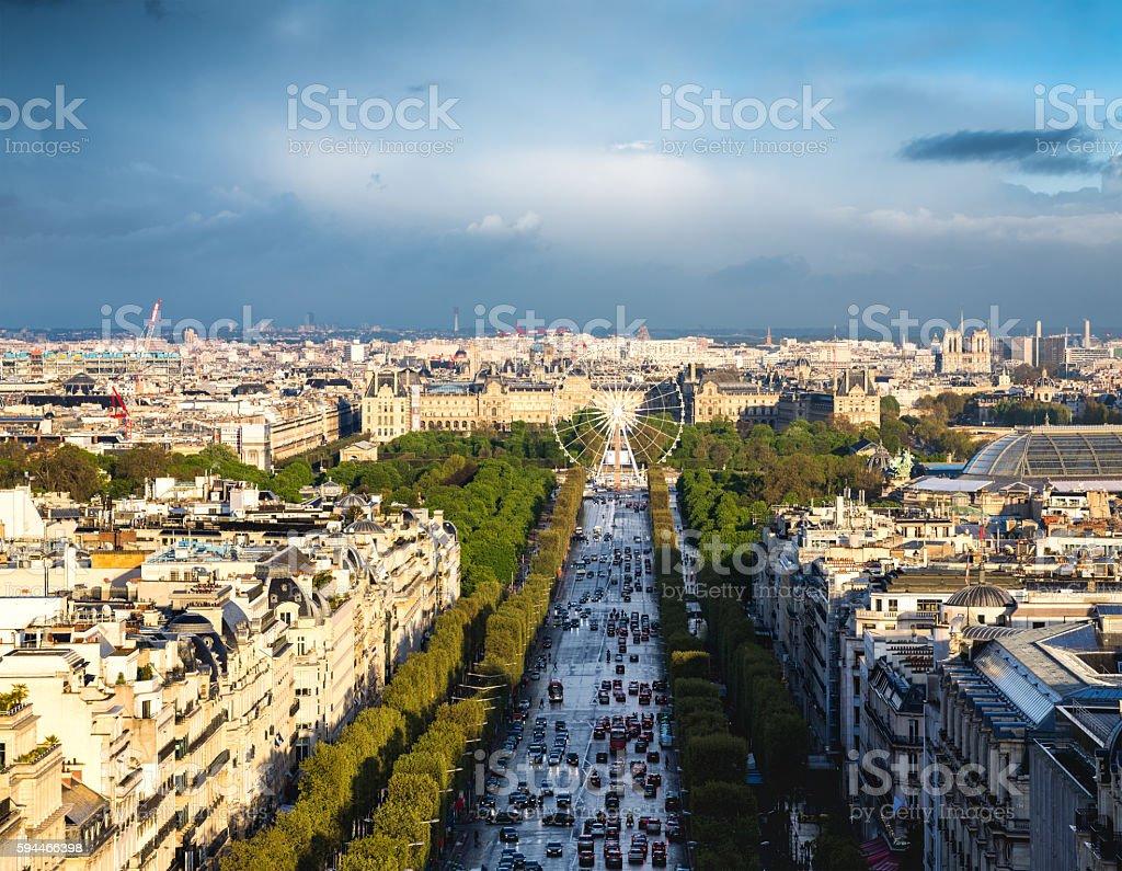 Champs Elysees and Place De La Concorde stock photo