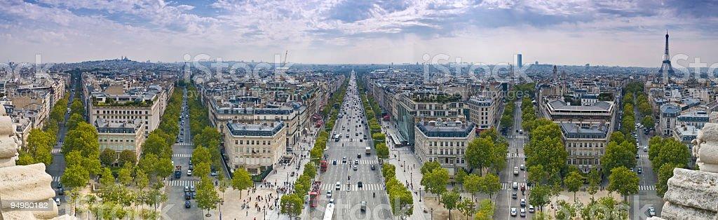 Champs-Élysées Eiffel Tower royalty-free stock photo