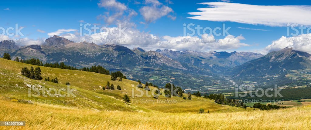 Champsaur and the Drac River Valley in Summer from Gleize Pass. Alps, France stock photo