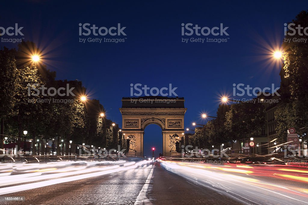 Champs-Elysees, Arc de Triomphe royalty-free stock photo