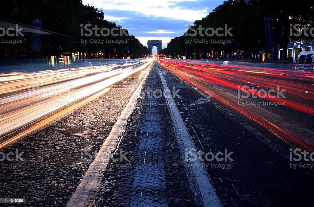 Champs-Élysées at Dusk royalty-free stock photo