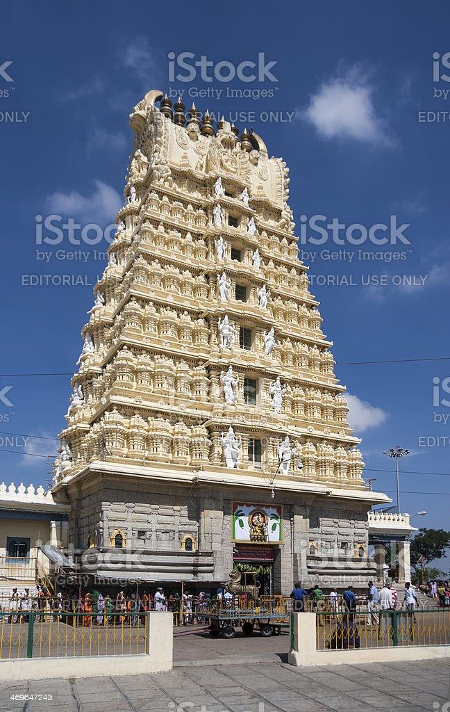 Chamundeshwari temple, important Hindu shrine with bright tower stock photo