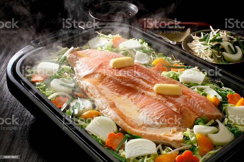 Chan Chan grilled salmon stock photo