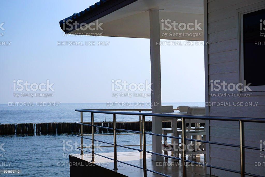 Chan Le Resort Seashore next to blue ocean stock photo