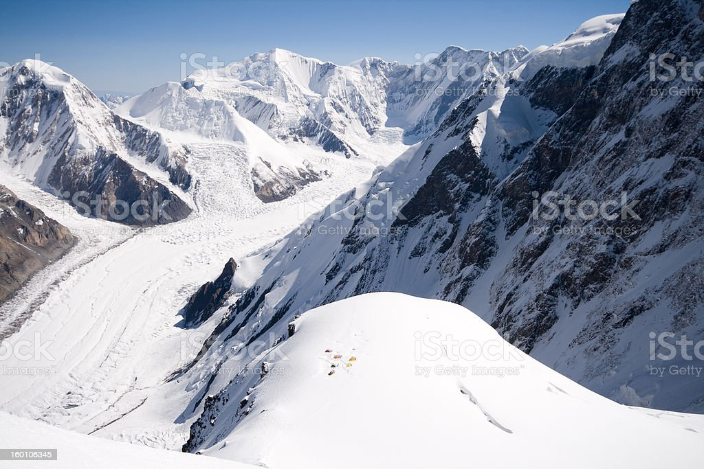 chan tengri tents in second camp royalty-free stock photo
