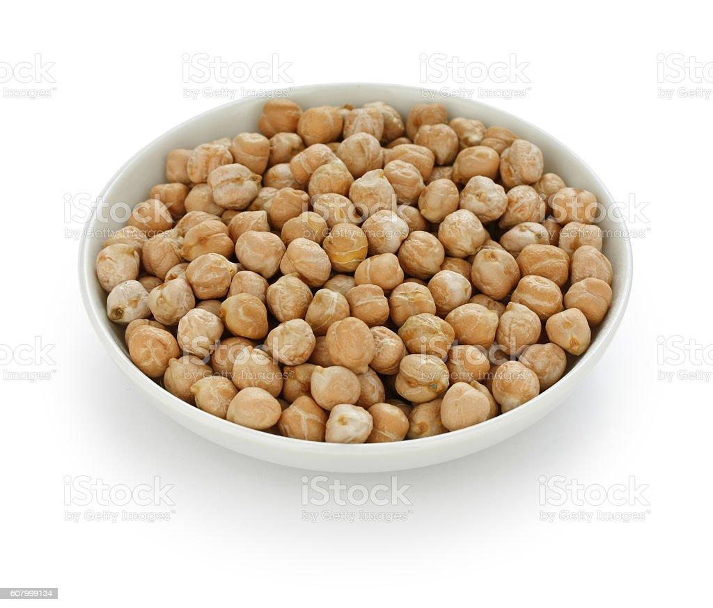 chana, chickpea, garbanzo bean in a small dish stock photo