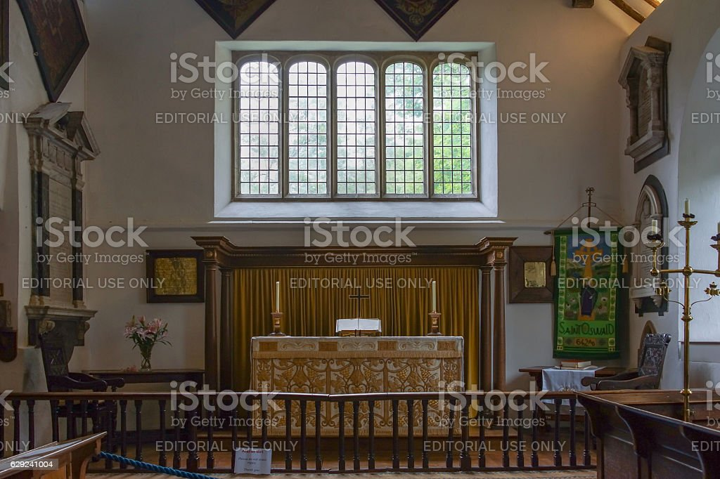 Chancel of Saint Orwald church in Grasmere. stock photo