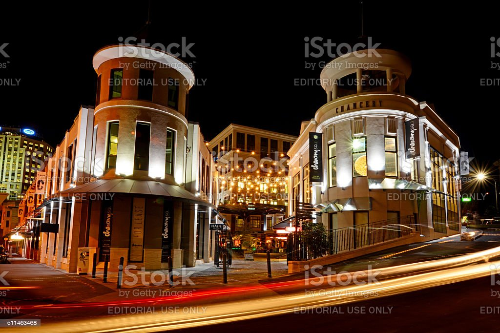 Chancery Square in Auckland Downtown at night stock photo