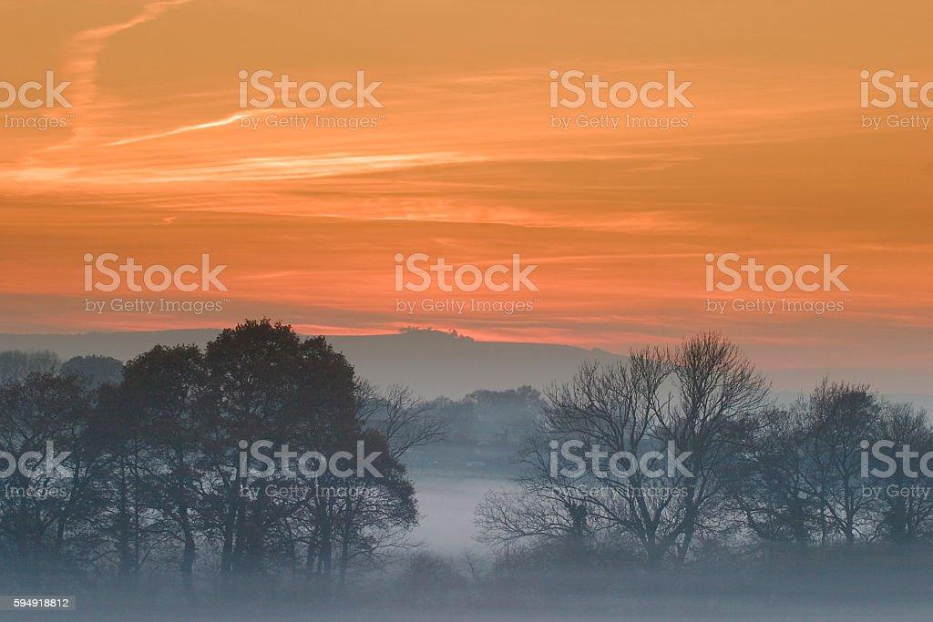 Chanctonbury Ring sunset stock photo