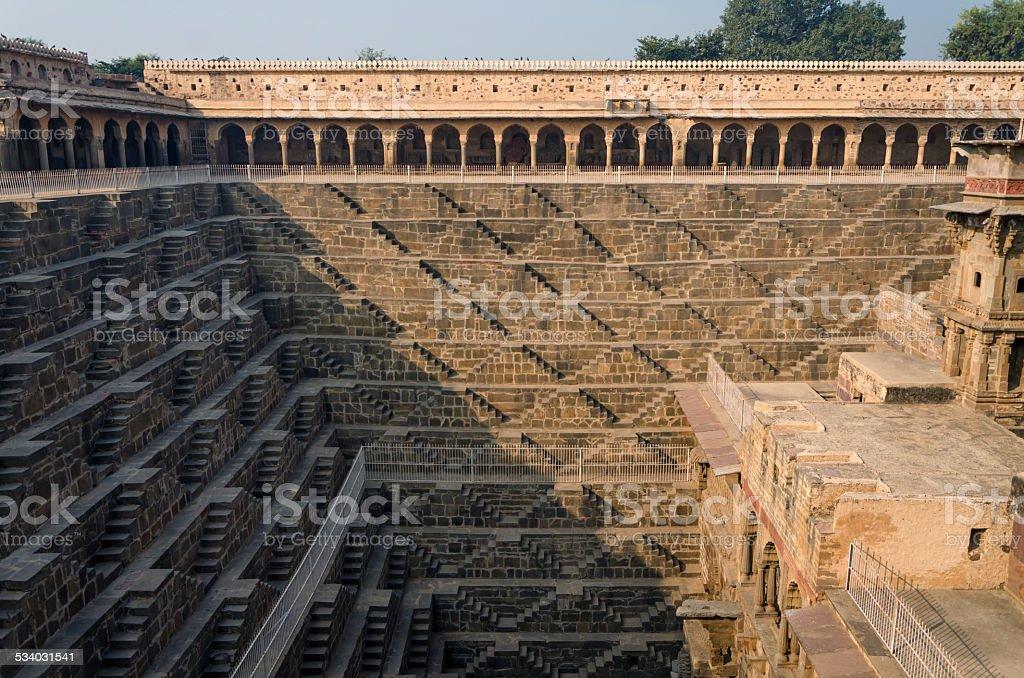 Chand Baori Stepwell, Rajasthan, India. stock photo