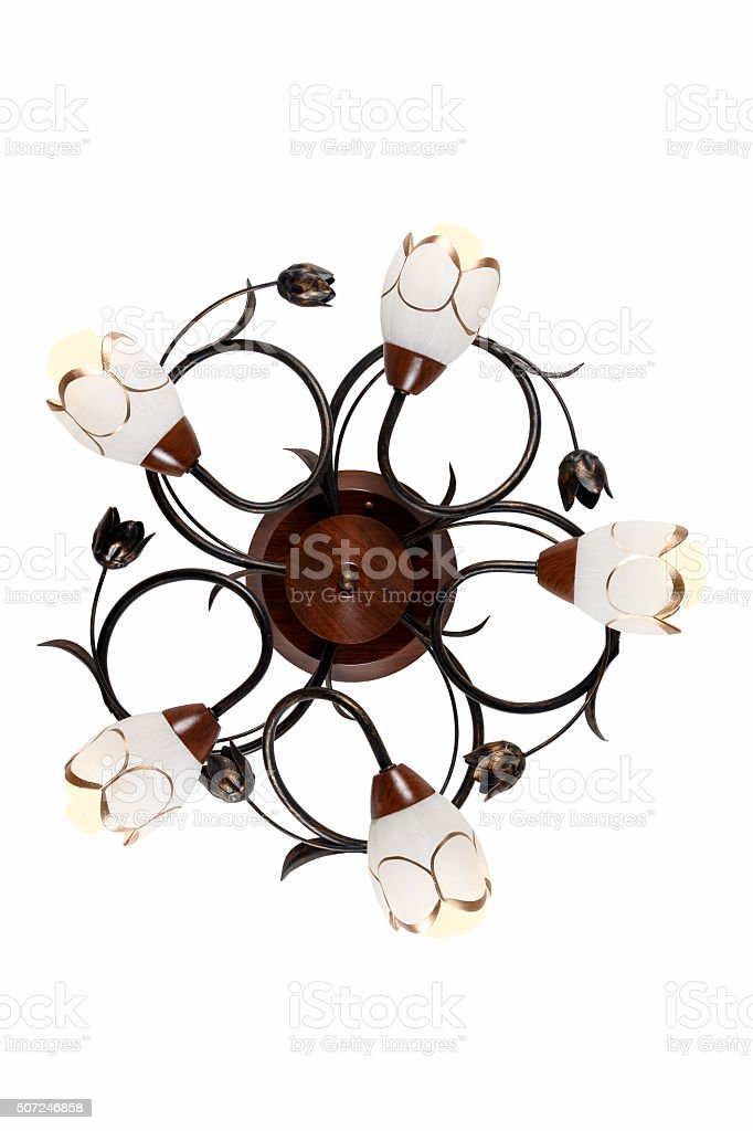 Chandelier at five horns with twisted decorative elements stock photo