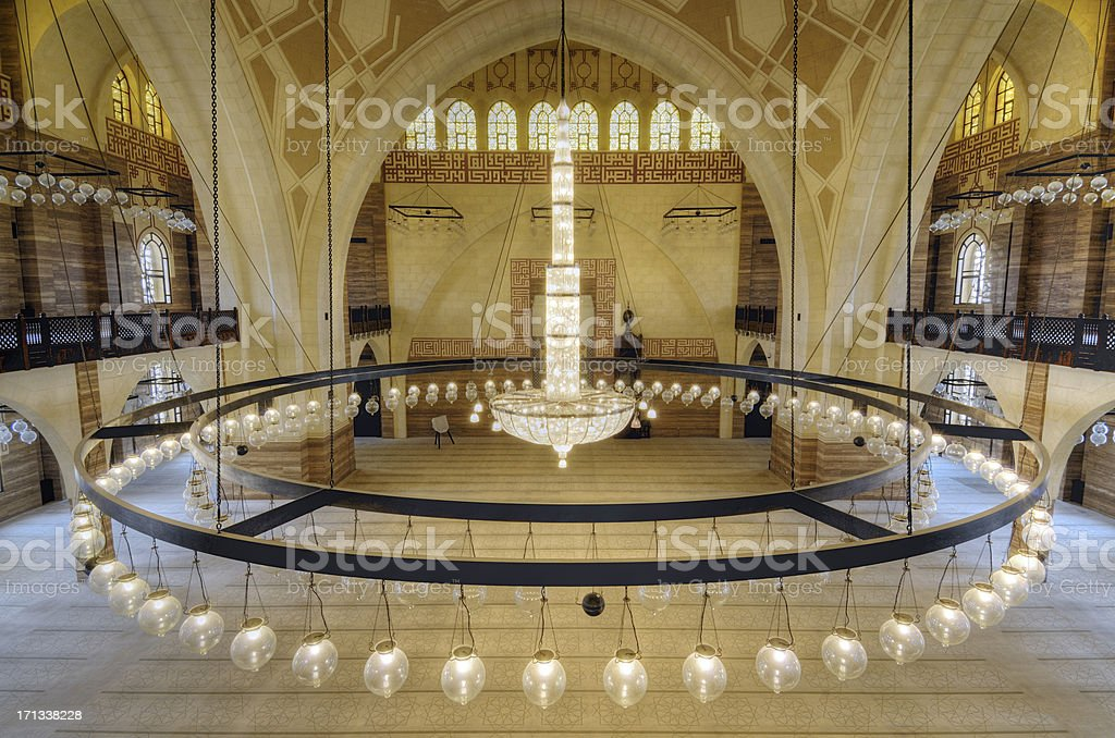 Chandelier in the Mosque. stock photo