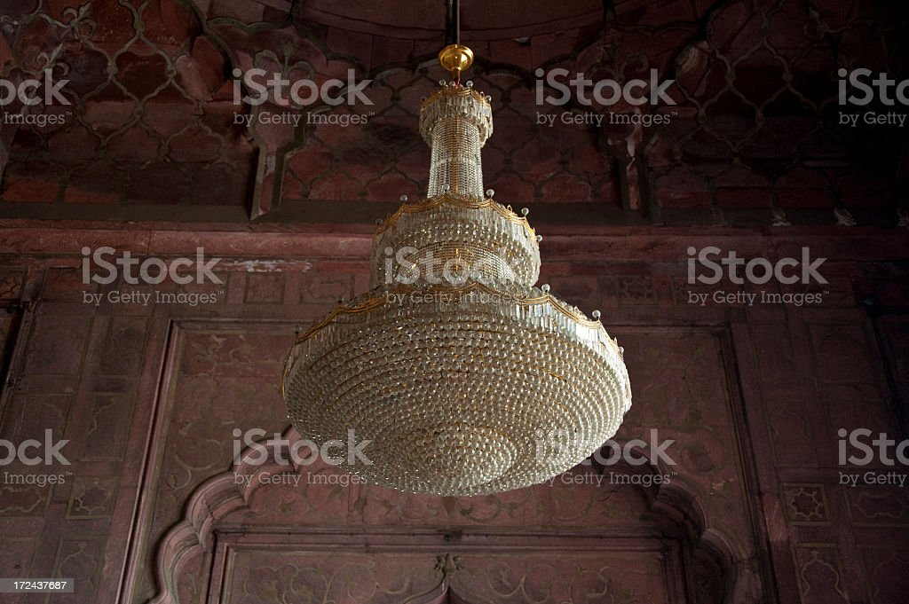 Chandelier inside the Jama  Mashid, Delhi stock photo