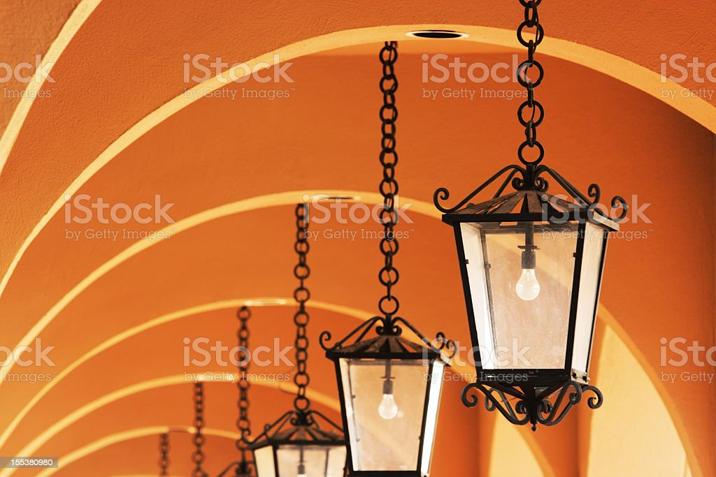 Chandelier Light Fixture Stucco Arch stock photo