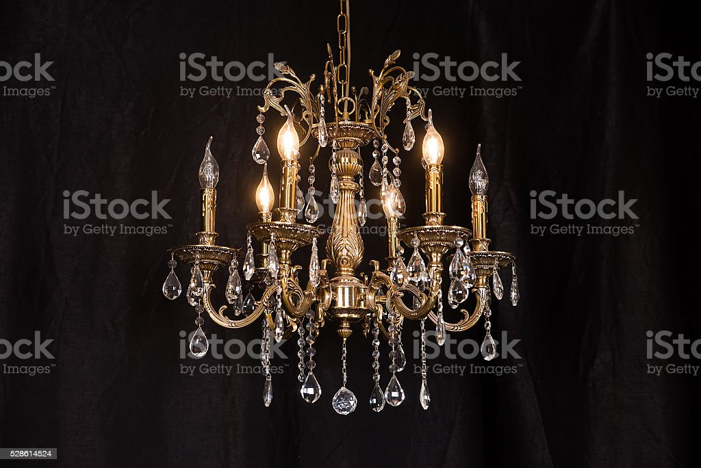 Chandelier, luxury retro style on dark background. stock photo