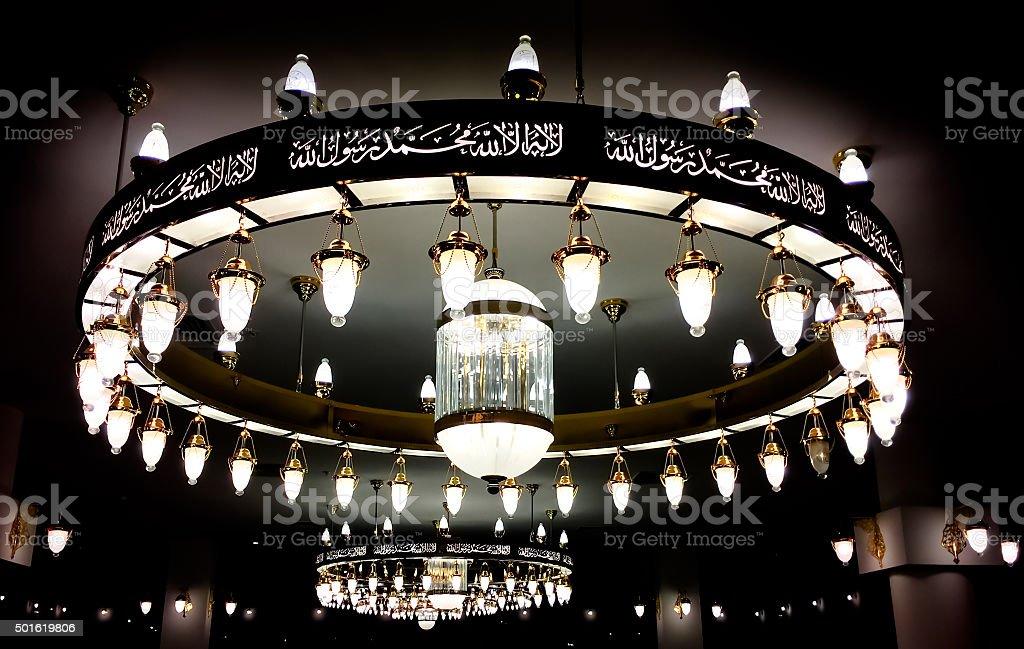 Chandelier Mosque stock photo