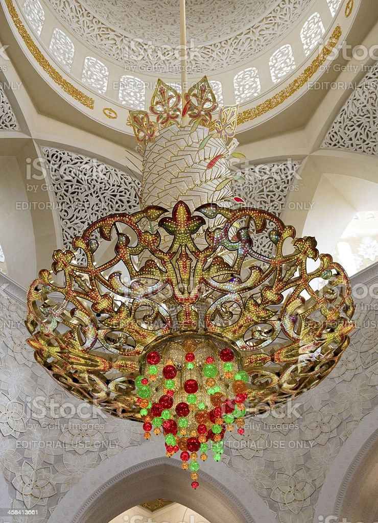 Chandelier of Sheikh Zayed Grand Mosque stock photo