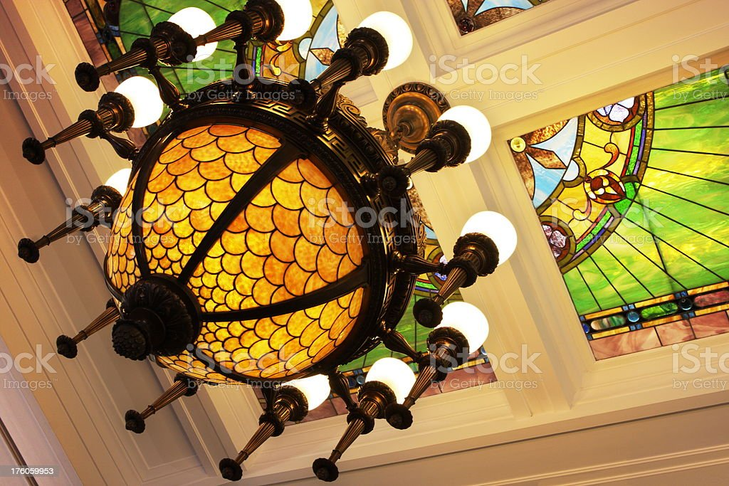 Chandelier Stained Glass Ceiling Victorian Decor stock photo