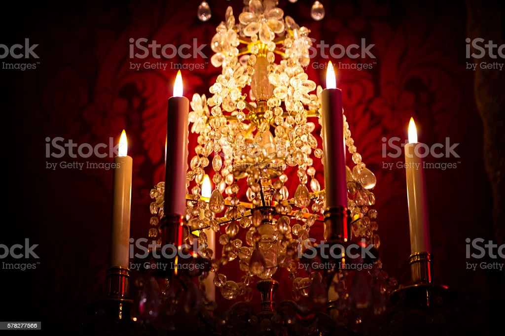 Chandelier with candles stock photo