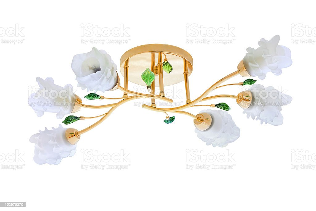 Chandelier with roses isolated on white stock photo