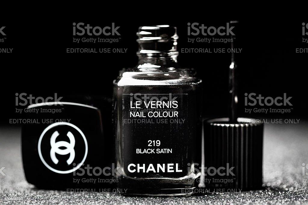 Chanel Black Satin Le Vernis Nail Polish stock photo