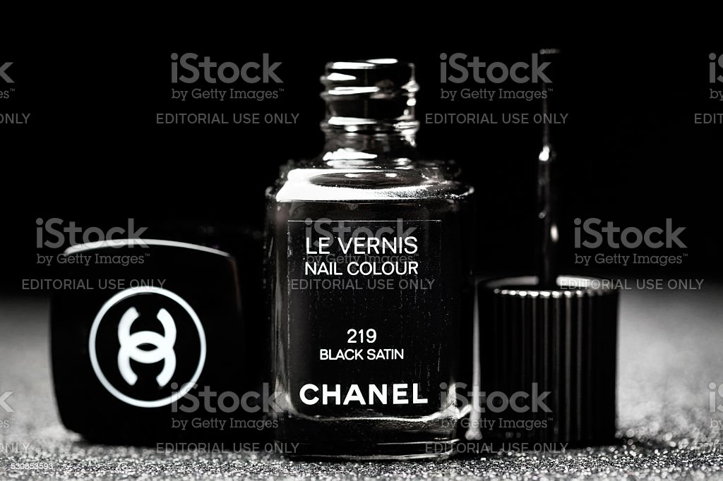 Chanel Black Satin Le Vernis Nail Polish stock photo