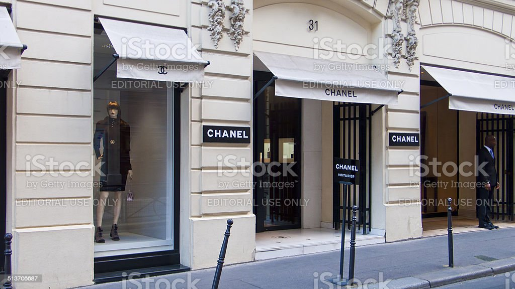 Chanel Boutique at Rue Cambon. Paris. France. stock photo