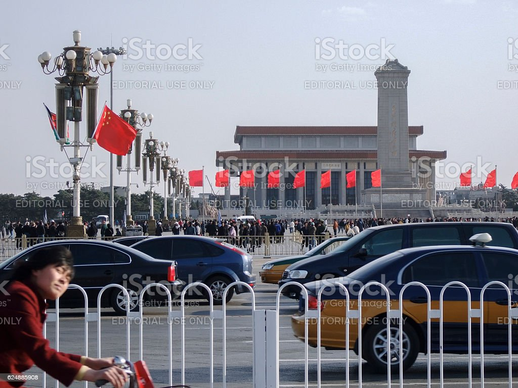 Chang'an Avenue and Tian'anmen Square in Beijing in China stock photo