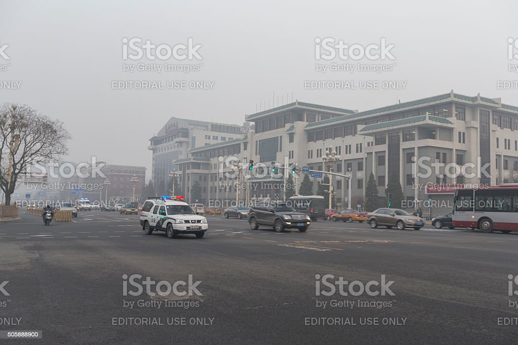 Changan Street under a heavy smog day, Beijing stock photo