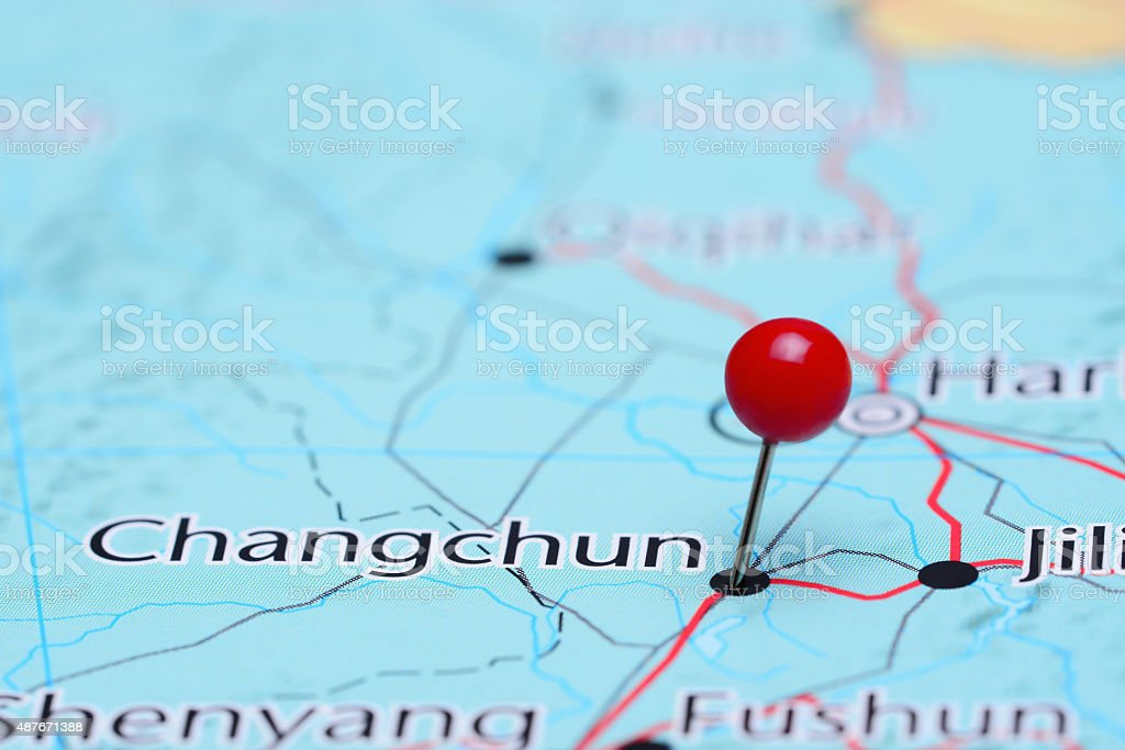 Changchun pinned on a map of Asia stock photo