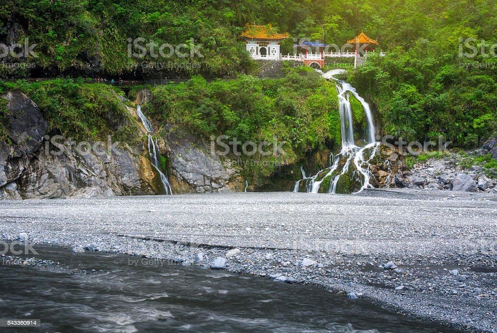 Changchun temple and waterfall at Taroko National Park stock photo