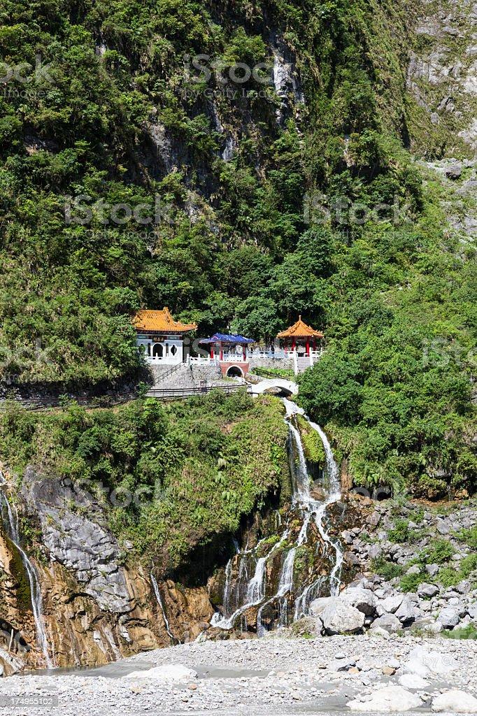 Changchun Temple in Taroko Gorges, Taiwan stock photo
