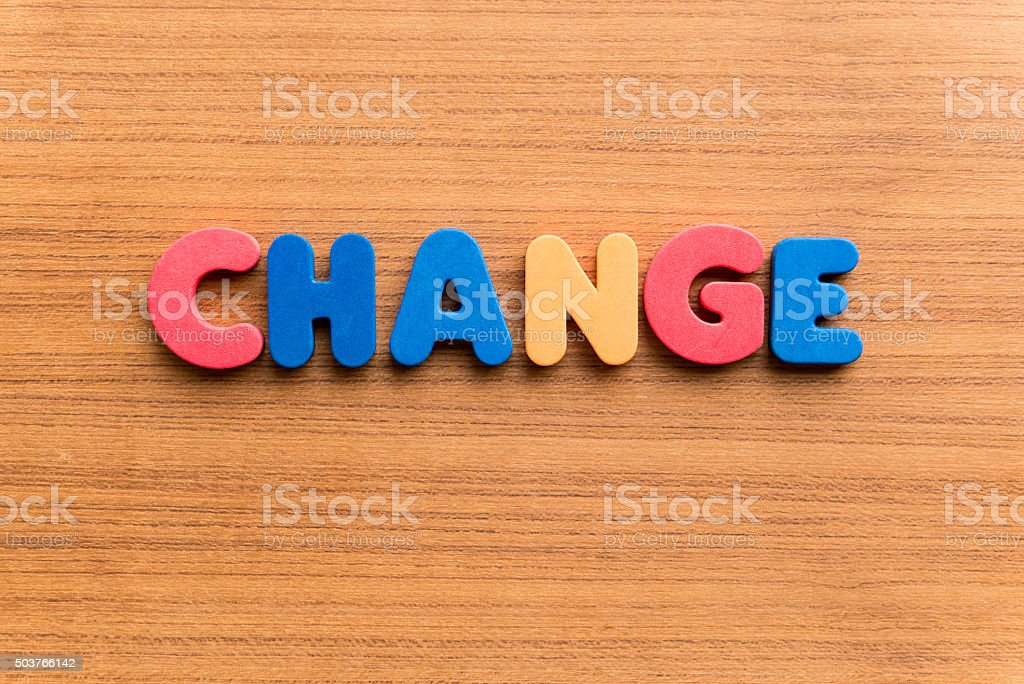 change colorful word stock photo