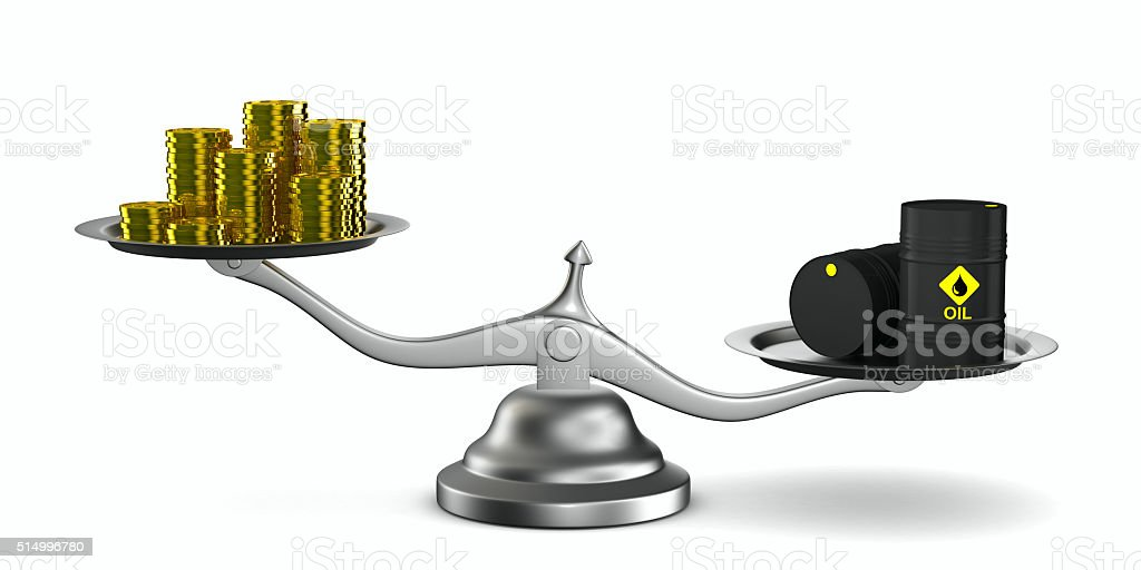 Change cost of oil in market. Isolated 3D image stock photo