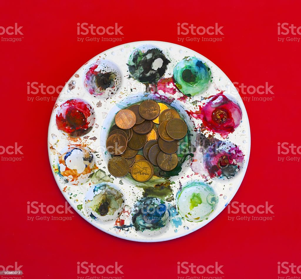 Change for Art on Red royalty-free stock photo