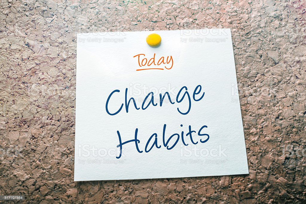 Change Habits Reminder For Today Pinned On Cork Board stock photo